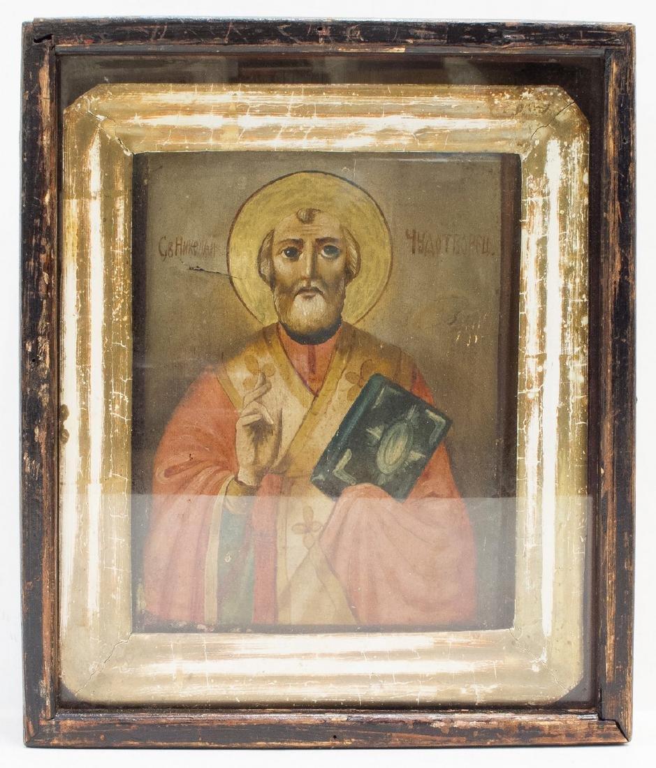 Saint Nicholas Kiot Glass Russian Icon, 19th C