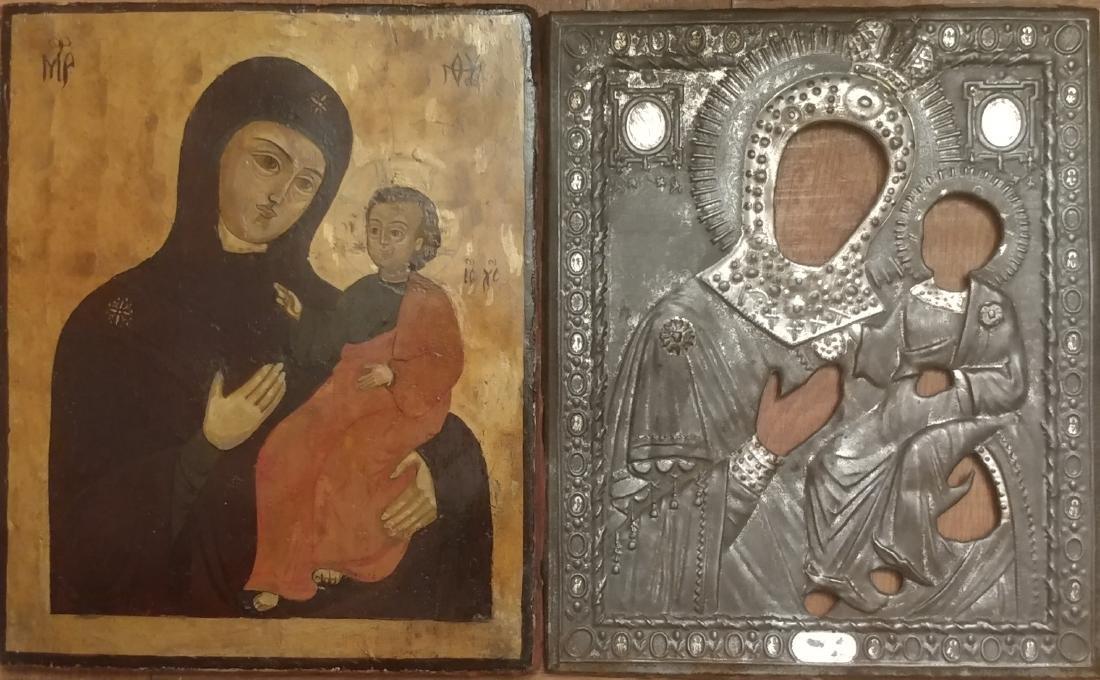 Antique Russian Icon of the Kazanskaya Metal Oklad