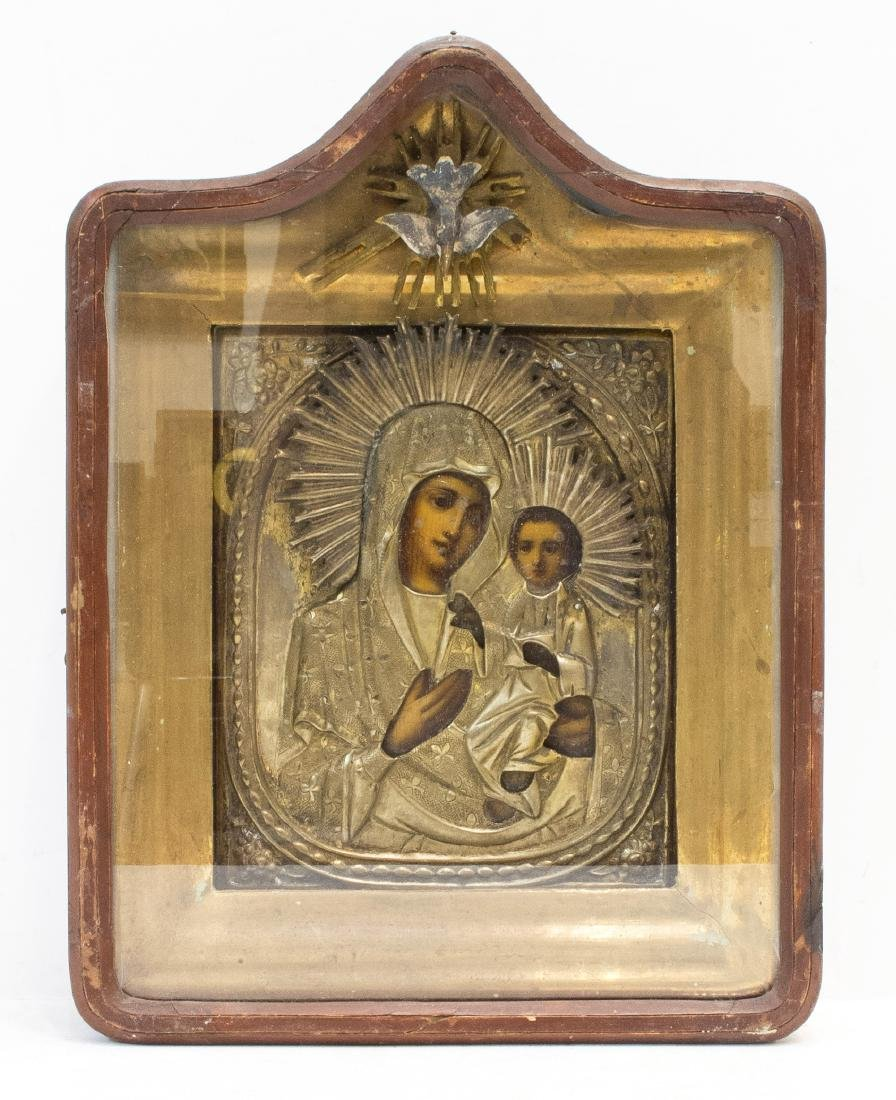Antique Mother of God Russian Icon, 19th C