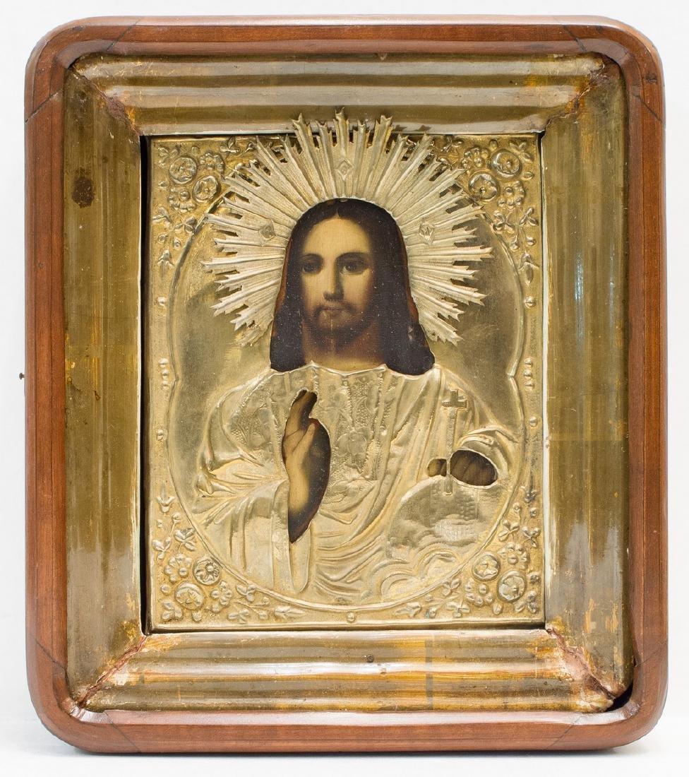 Christ Pantocrator Oklad Kiot Russian Icon, 19th C