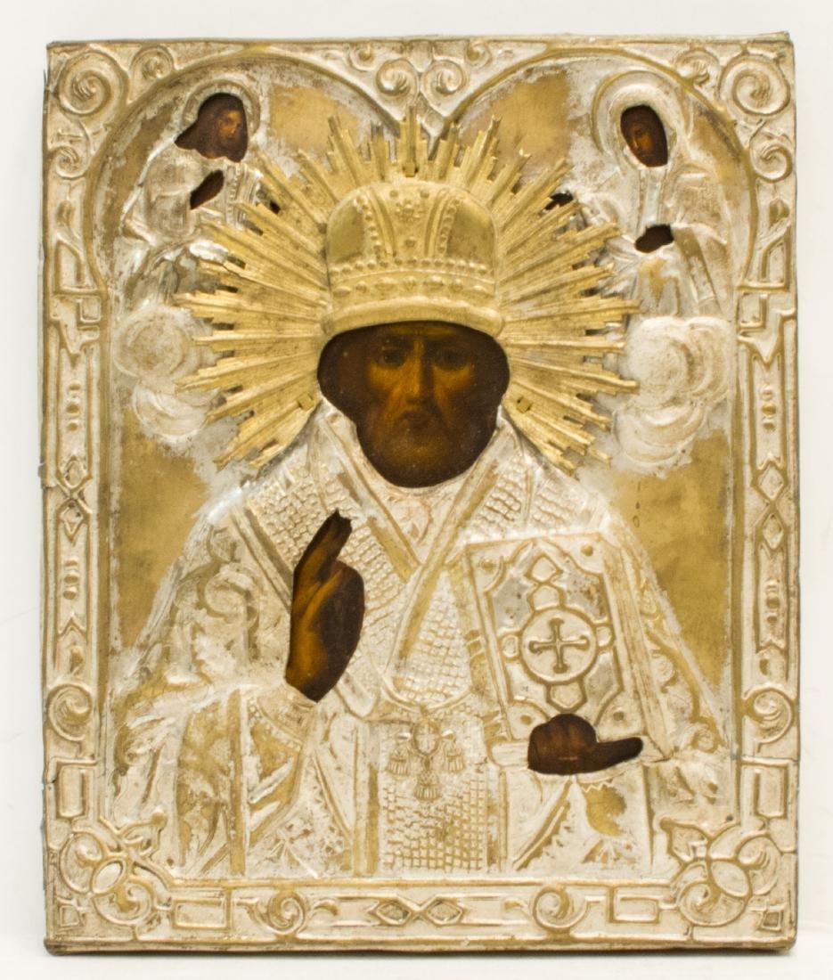 Saint Nicholas Brass Oklad Russian Icon, 19th C