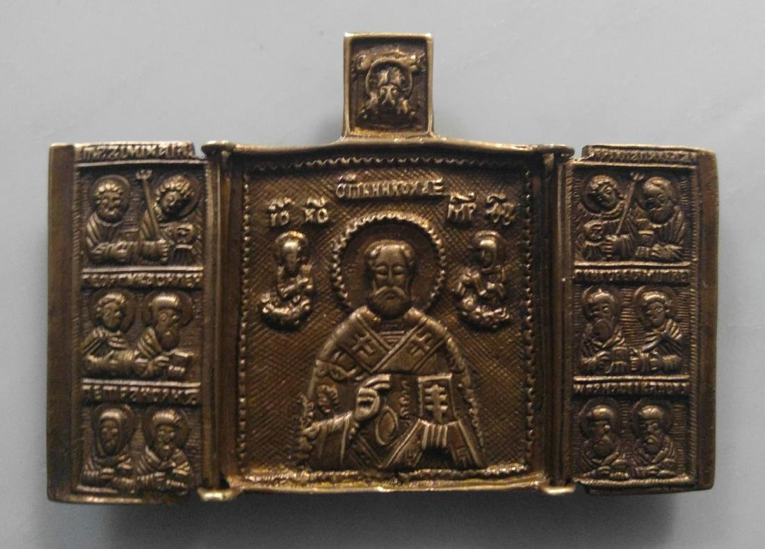 Bronze Triptych of Saint Nicholas