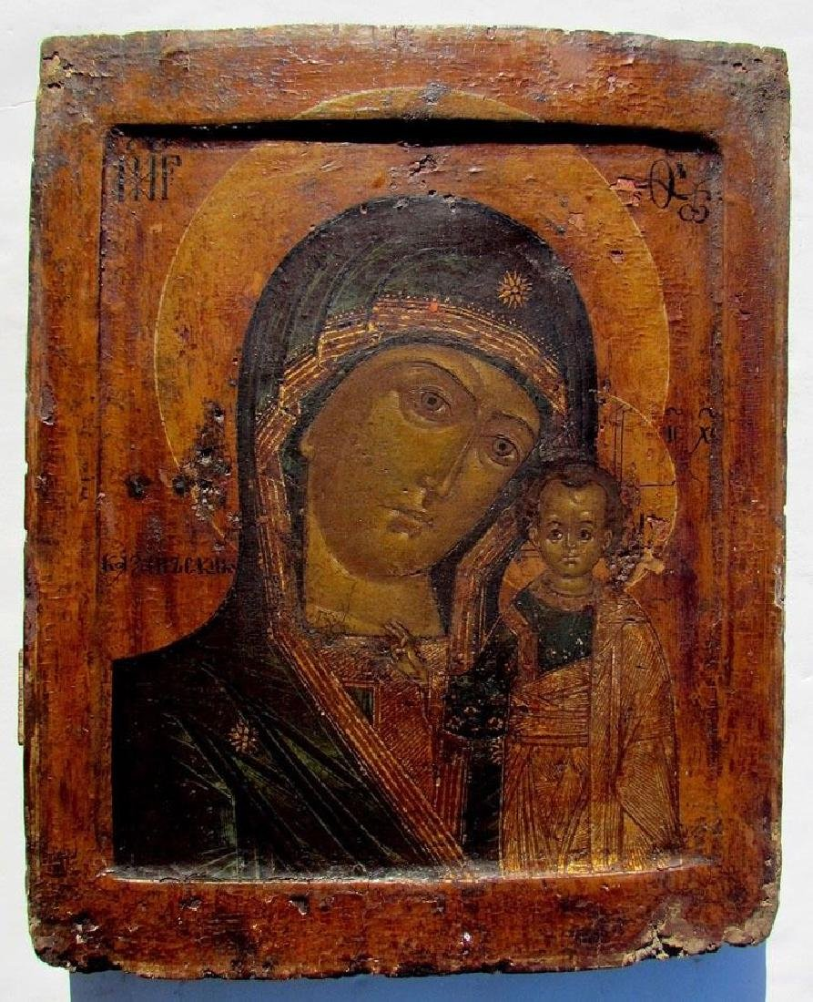 Antique Russian Icon Kazan Mother of God, 18th C