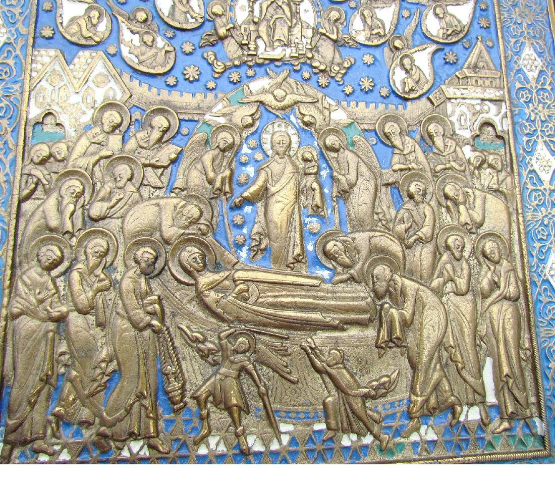 Russian Bronze Enamel Icon Dormition of Mother of God - 2