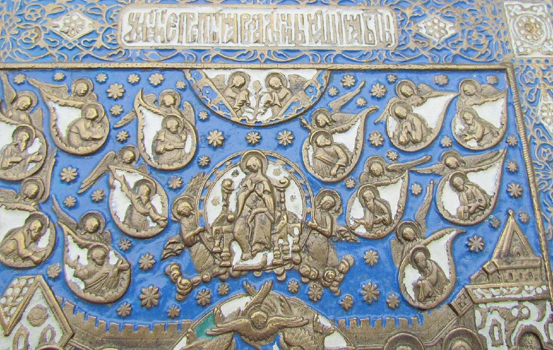 Russian Bronze Enamel Icon Dormition of Mother of God - 3