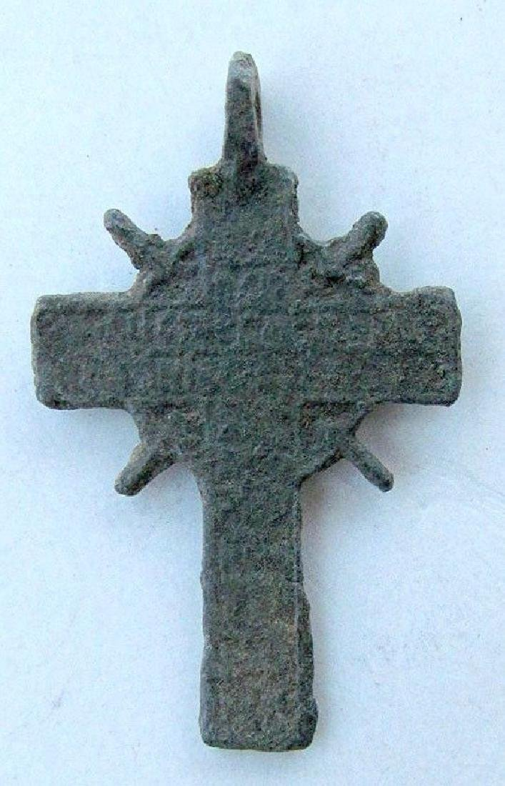 Russian 17th Century Antique Brass Neck Cross Icon - 2