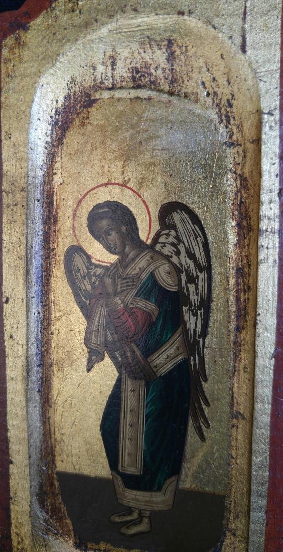 Antique Russian Icon Triptych With Archangels - 3