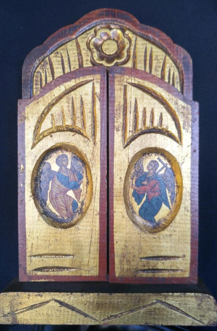 Antique Russian Icon Triptych With Archangels - 4