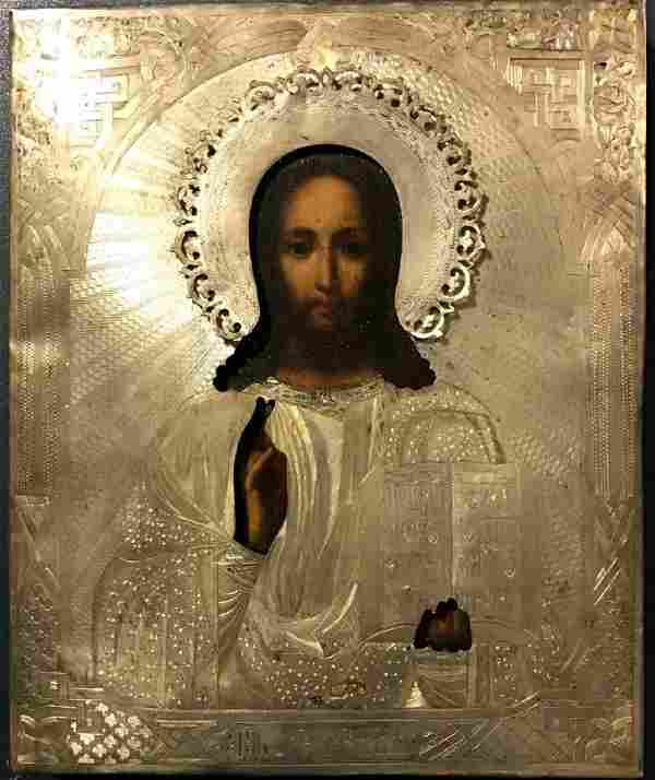 Antique Russian 84 Silver Icon of Christ, 19th C