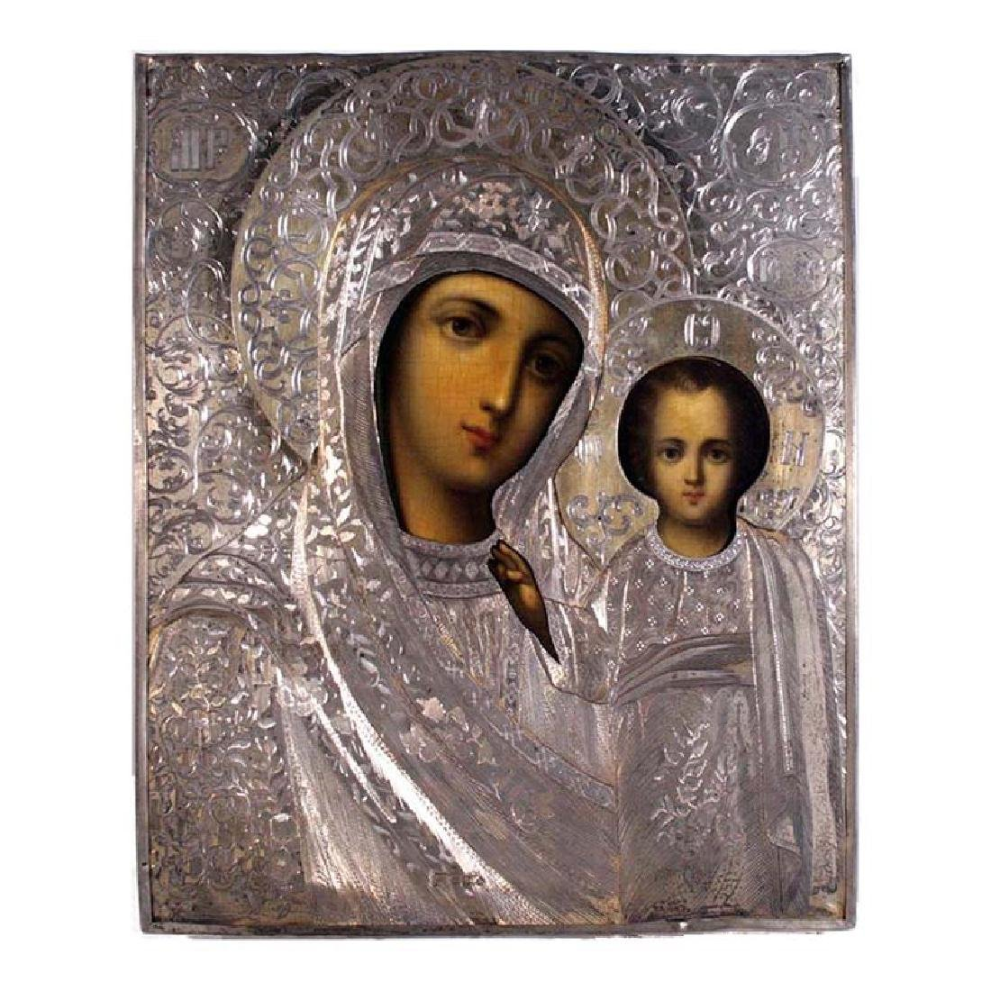 Our Lady Of Kazan Antique Russian Icon, 19th C