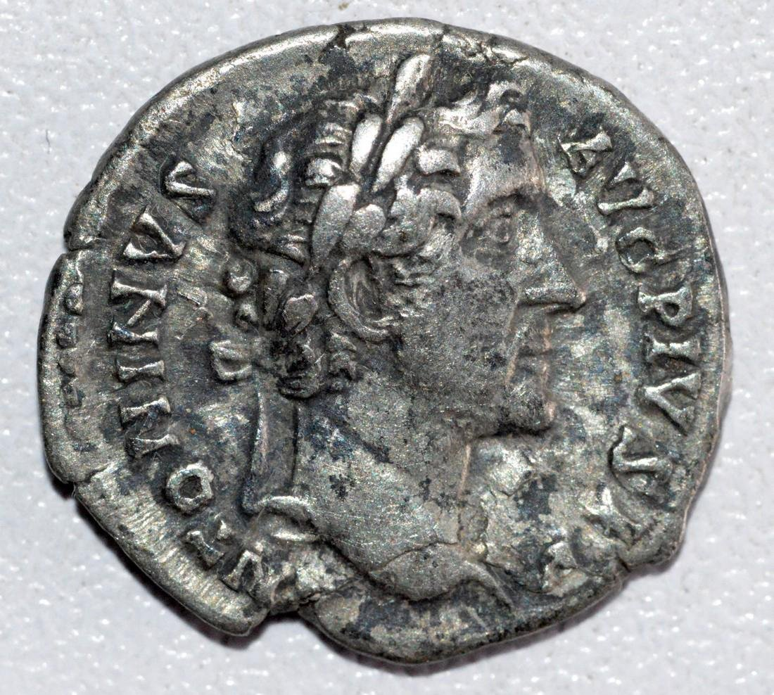 Ancient Roman Silver Denarius of Emperor Antoninus
