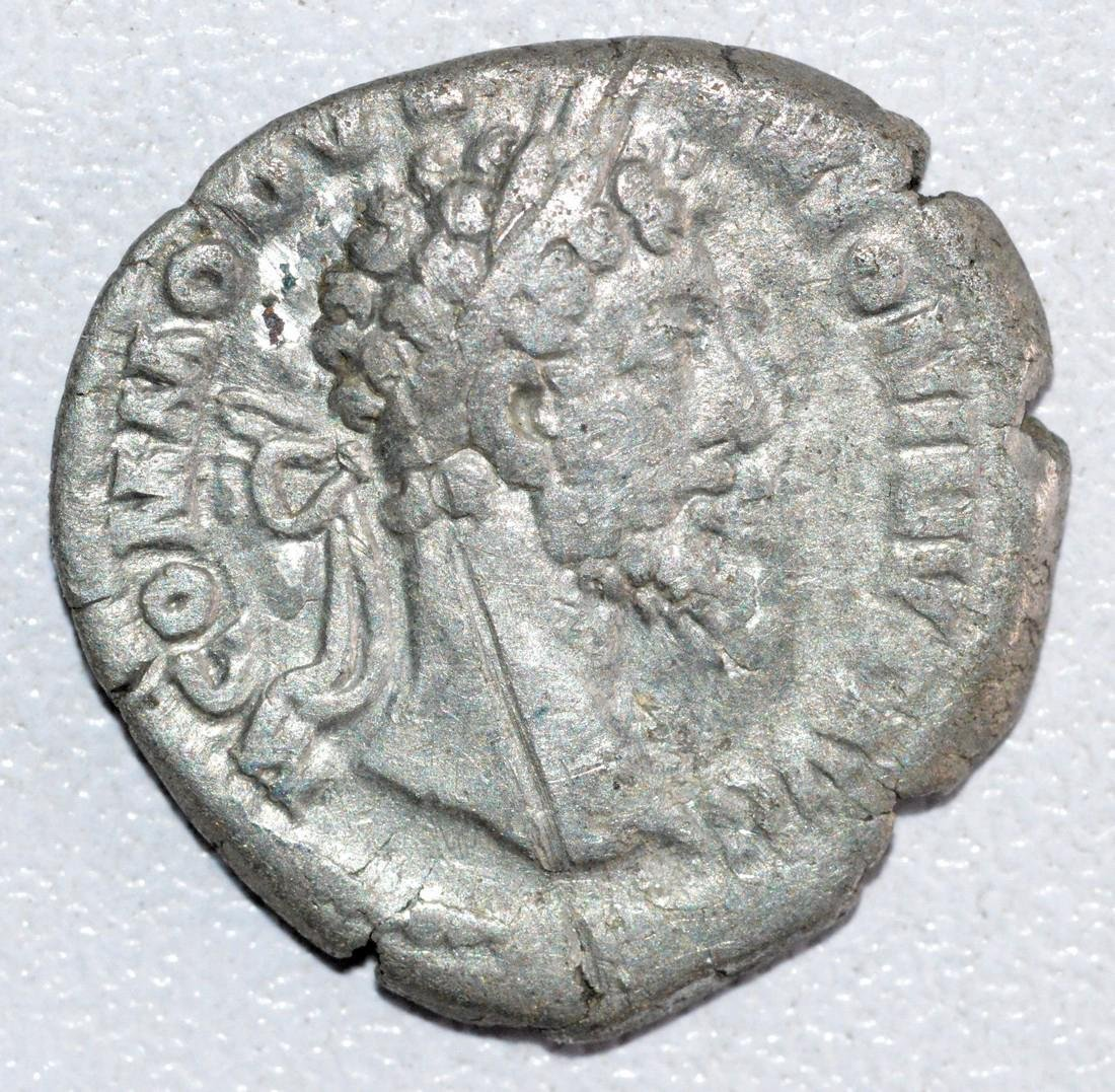 Ancient Roman Silver Denarius of Emperor Commodus, RV.