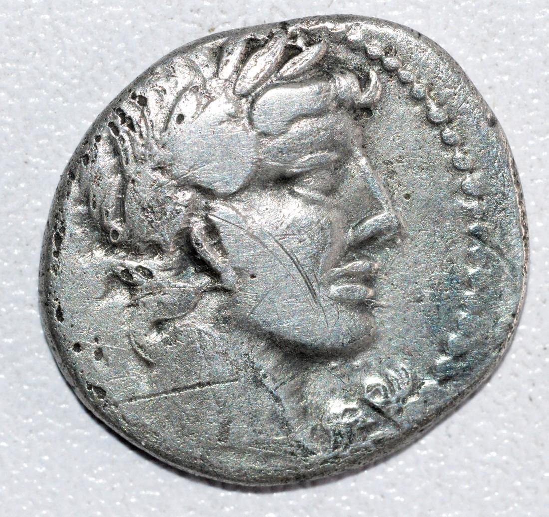 Ancient Roman Republican Silver denarius  - obv. God