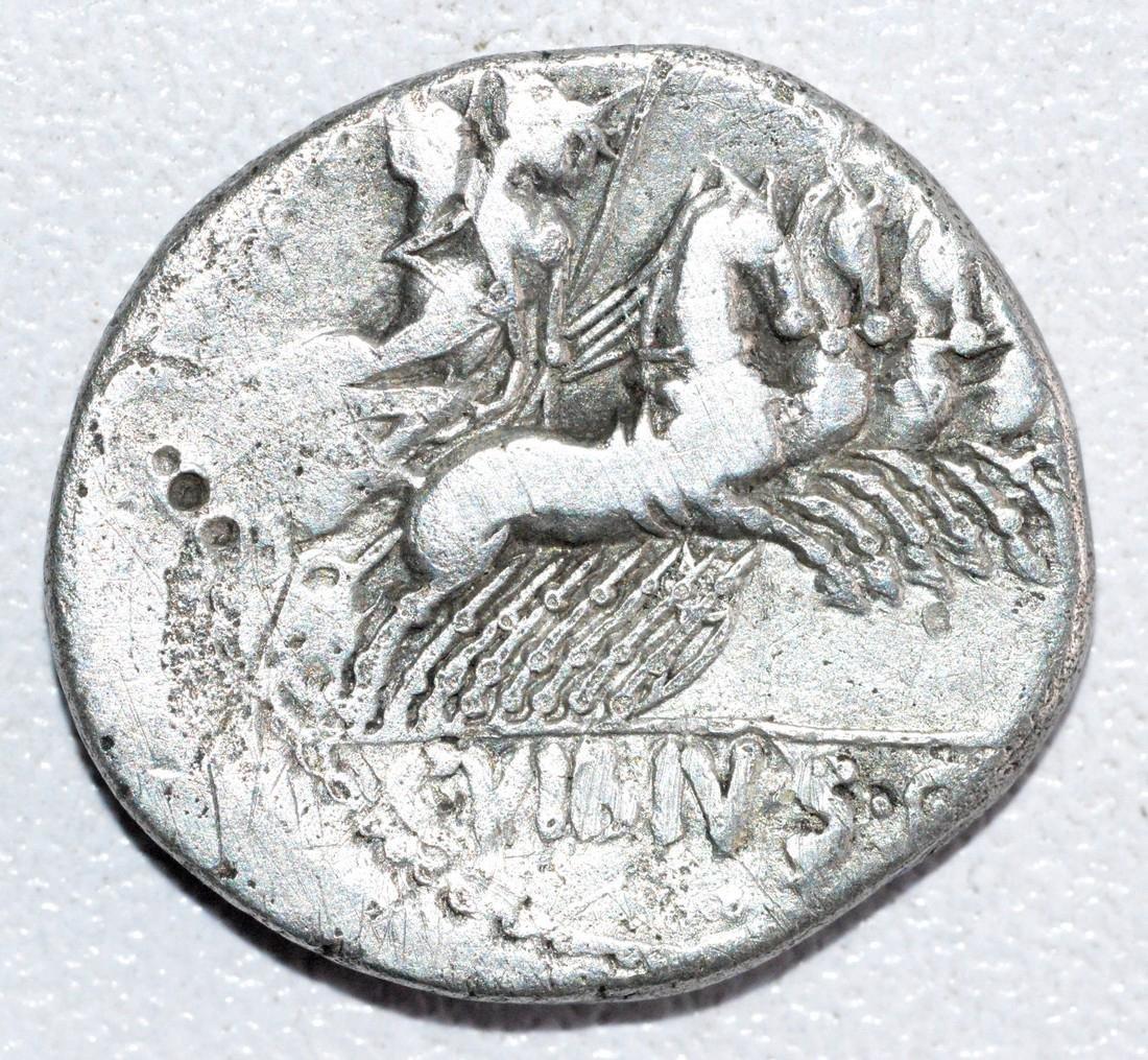 Ancient Roman Republican Silver denarius  - obv. God - 2