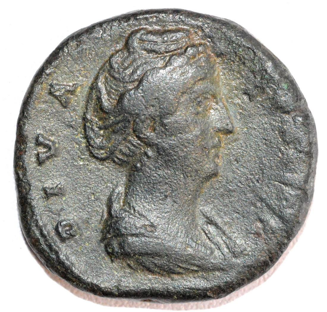 Ancient Roman Bronze Sestertius of Empress Faustina rv.