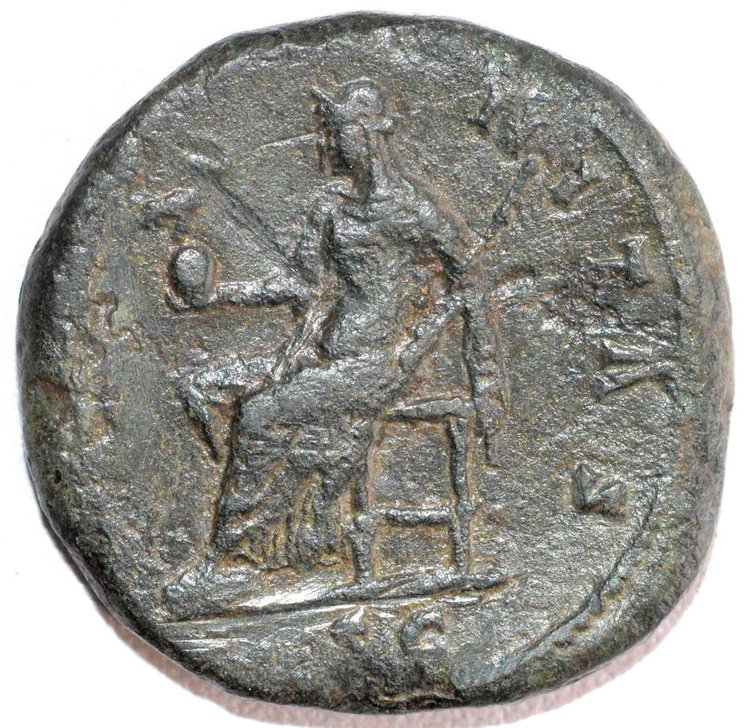 Ancient Roman Bronze Sestertius of Empress Faustina rv. - 2