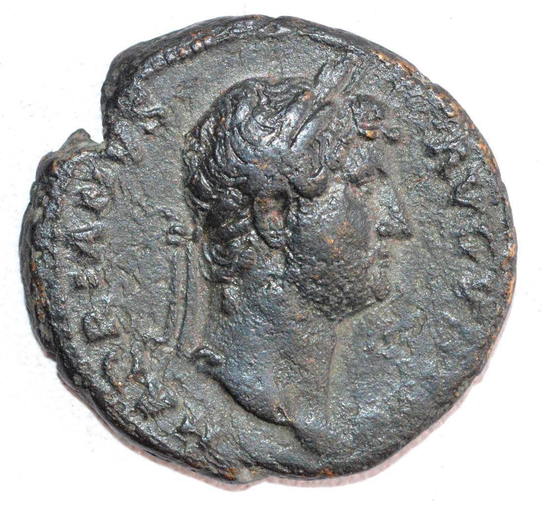 Ancient Roman Copper As of Emperor Hadrian rv. Salus