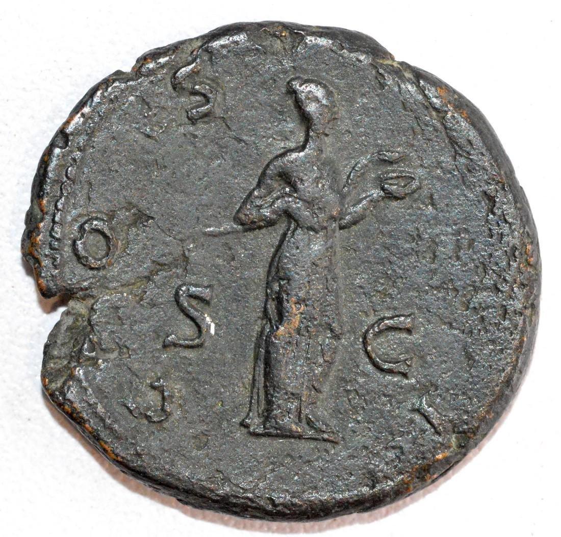 Ancient Roman Copper As of Emperor Hadrian rv. Salus - 2