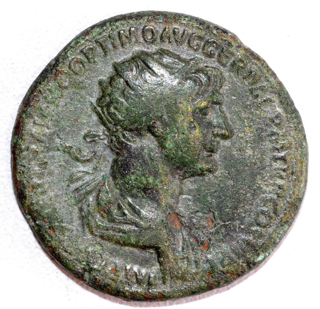 Ancient Roman Bronze Dupondius of Emperor Trajan, rv.