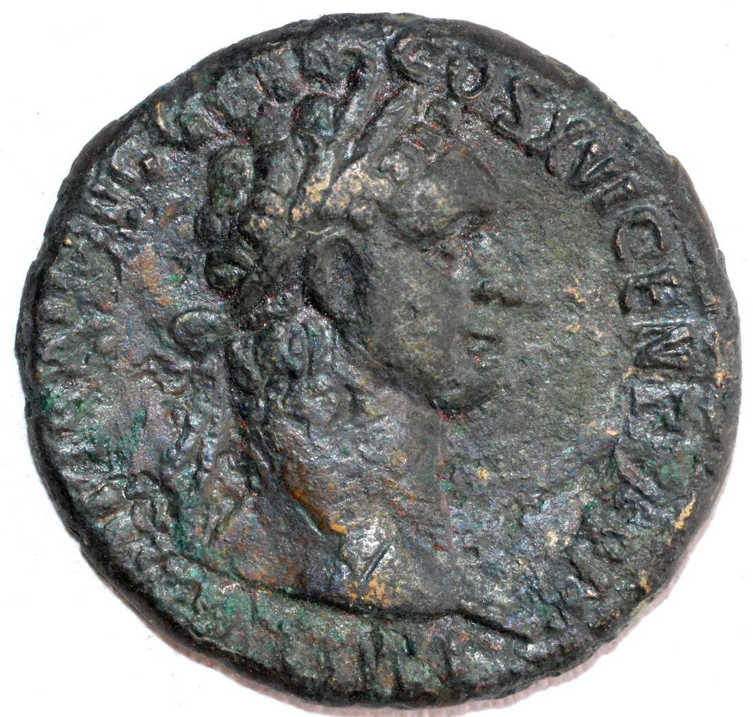 Ancient Roman Copper As of Emperor Domitian, rv. Spes