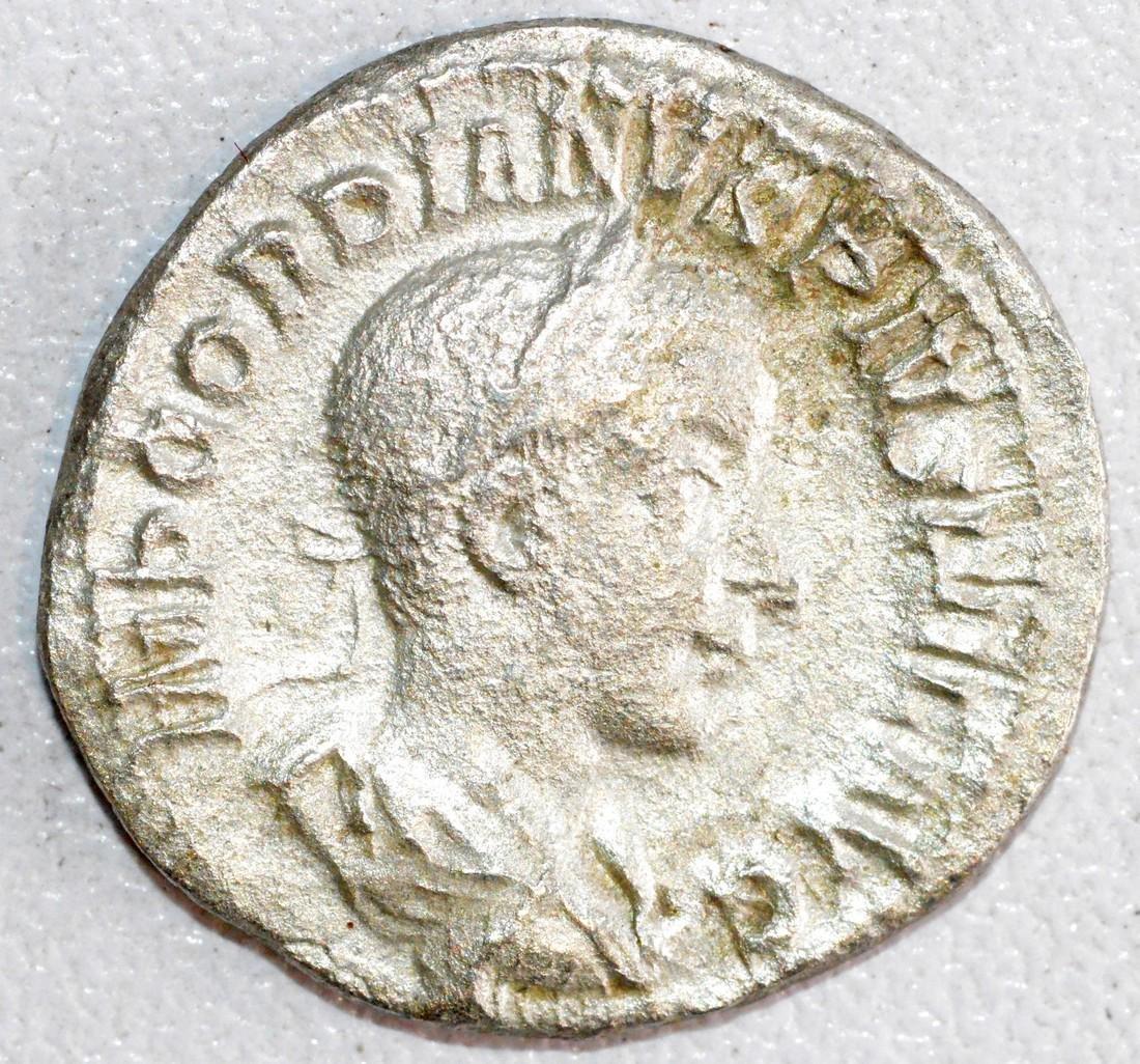 Ancient Roman Silver Denarius of Emperor Gordian III,