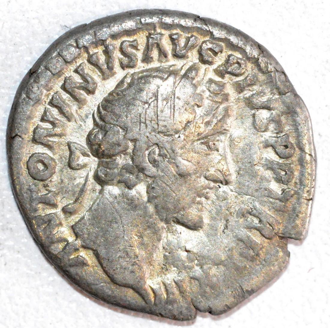 Ancient Roman Silver Denarius of Emperor Antoninus Pius