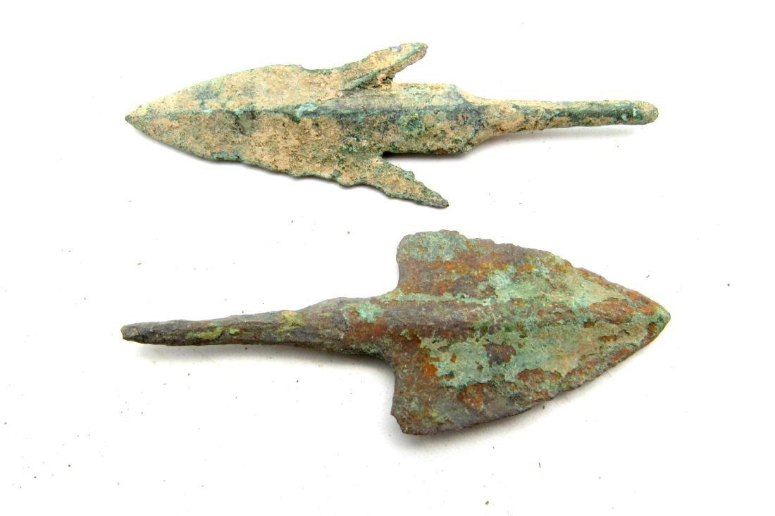 Pair of Bronze Age Military Arrowheads - 2