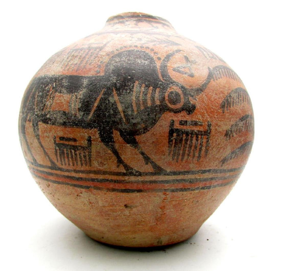 Indus Valley Painted Terracotta Jar with Bull Motif