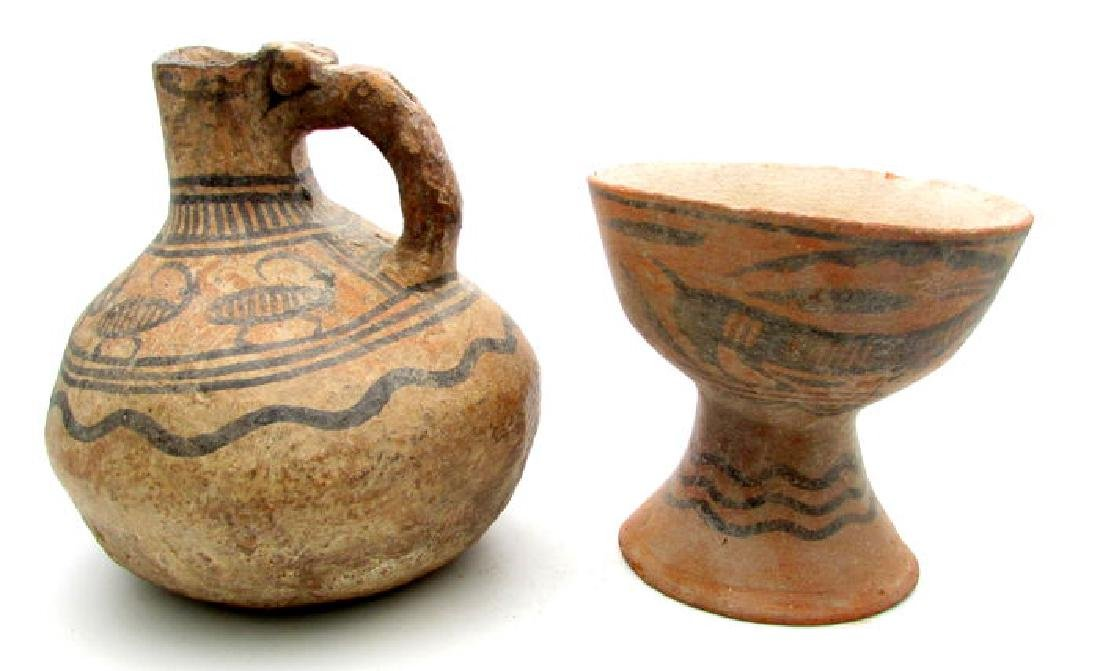 Indus Valley Painted Terracotta Goblet and Jug with