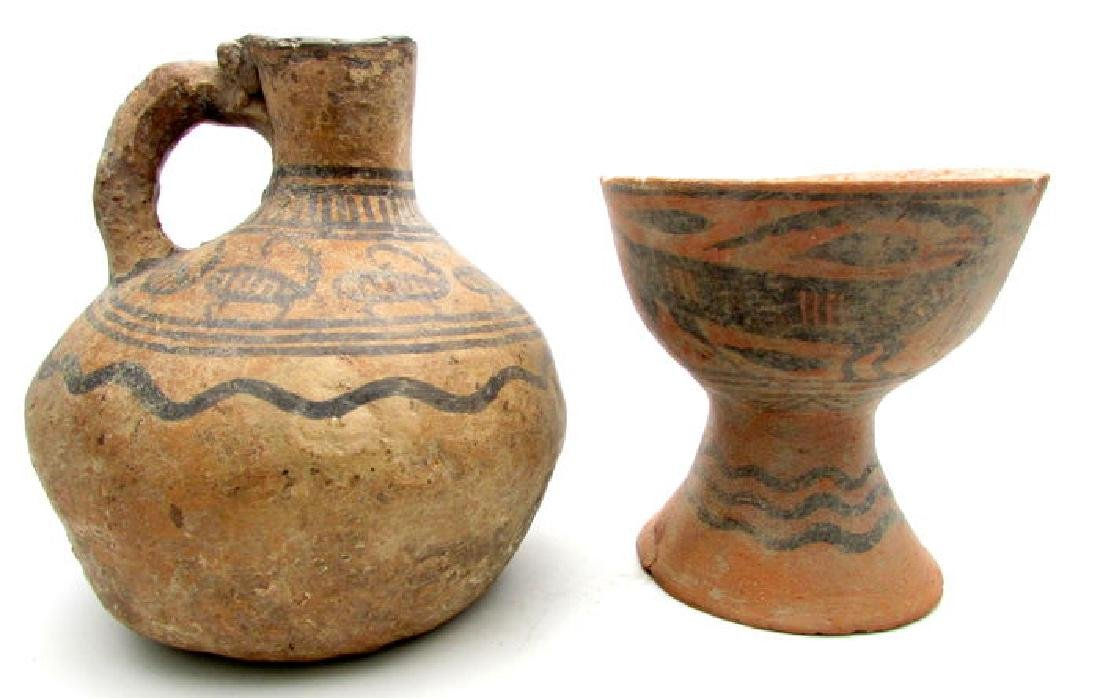 Indus Valley Painted Terracotta Goblet and Jug with - 7