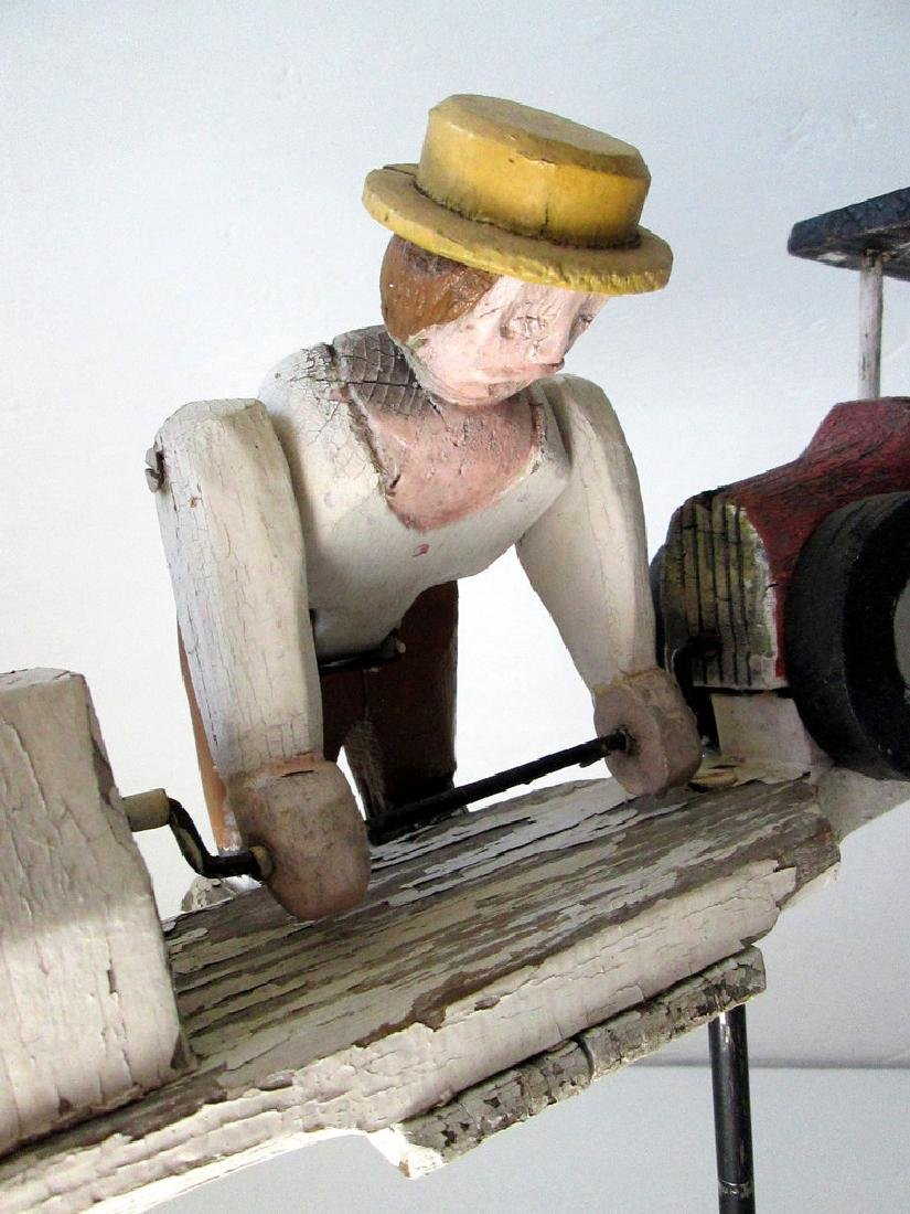 Vintage Man Starting Car Whirligig - 2