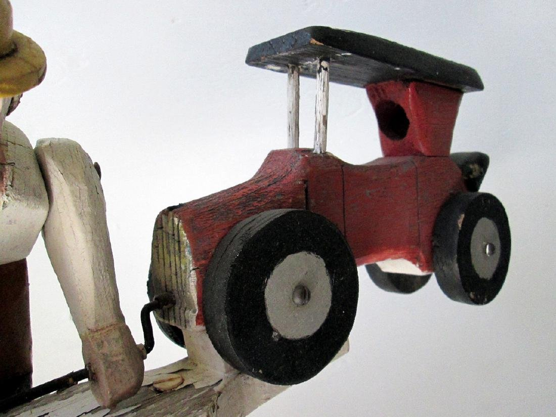Vintage Man Starting Car Whirligig - 3