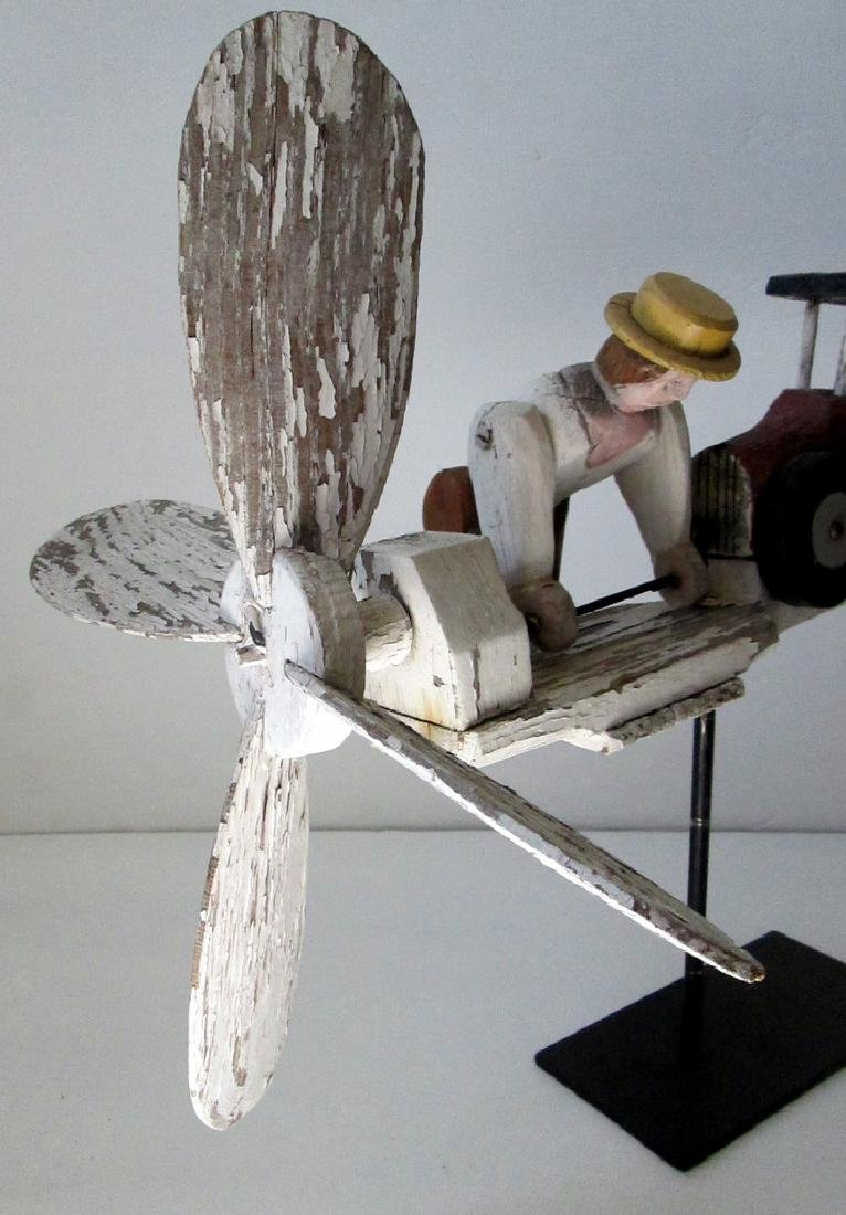 Vintage Man Starting Car Whirligig - 4