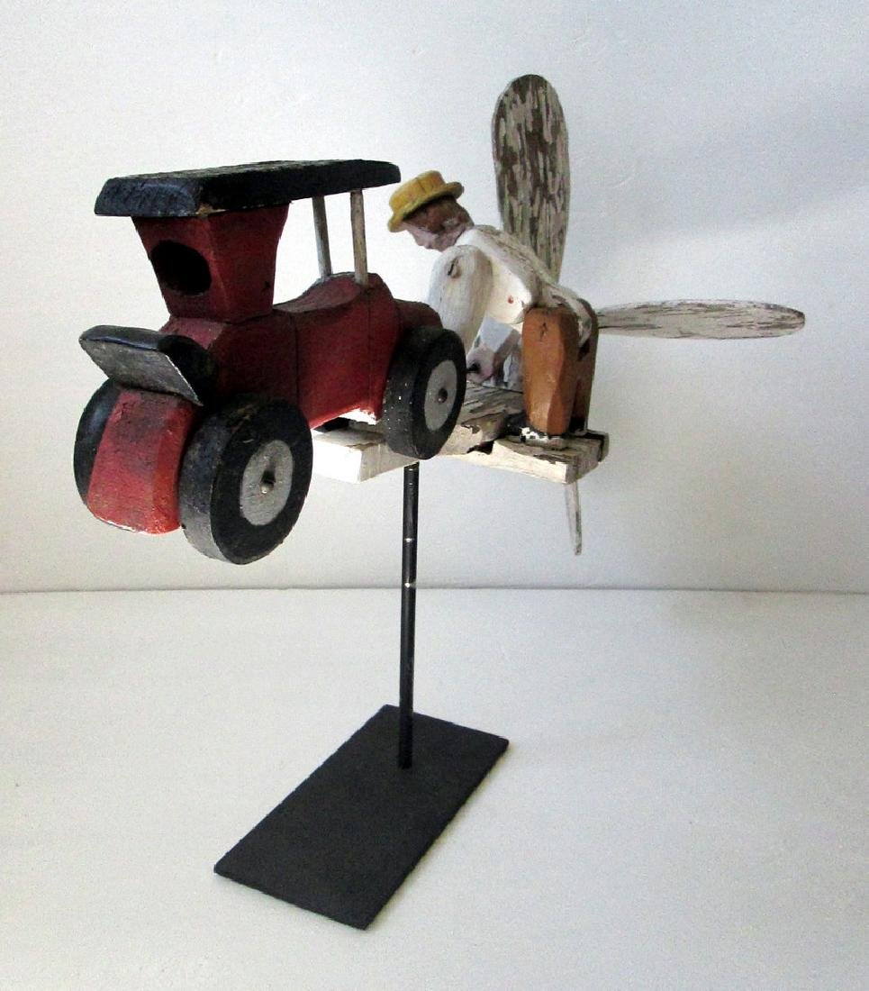 Vintage Man Starting Car Whirligig - 8
