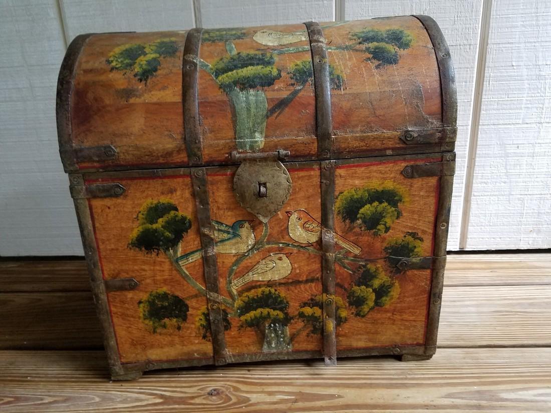 Vintage Wooden Milk Box Hand Stenciled