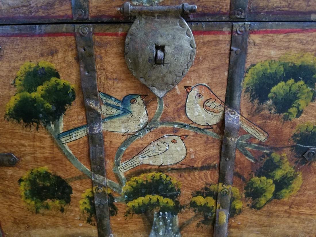 Vintage Wooden Milk Box Hand Stenciled - 2