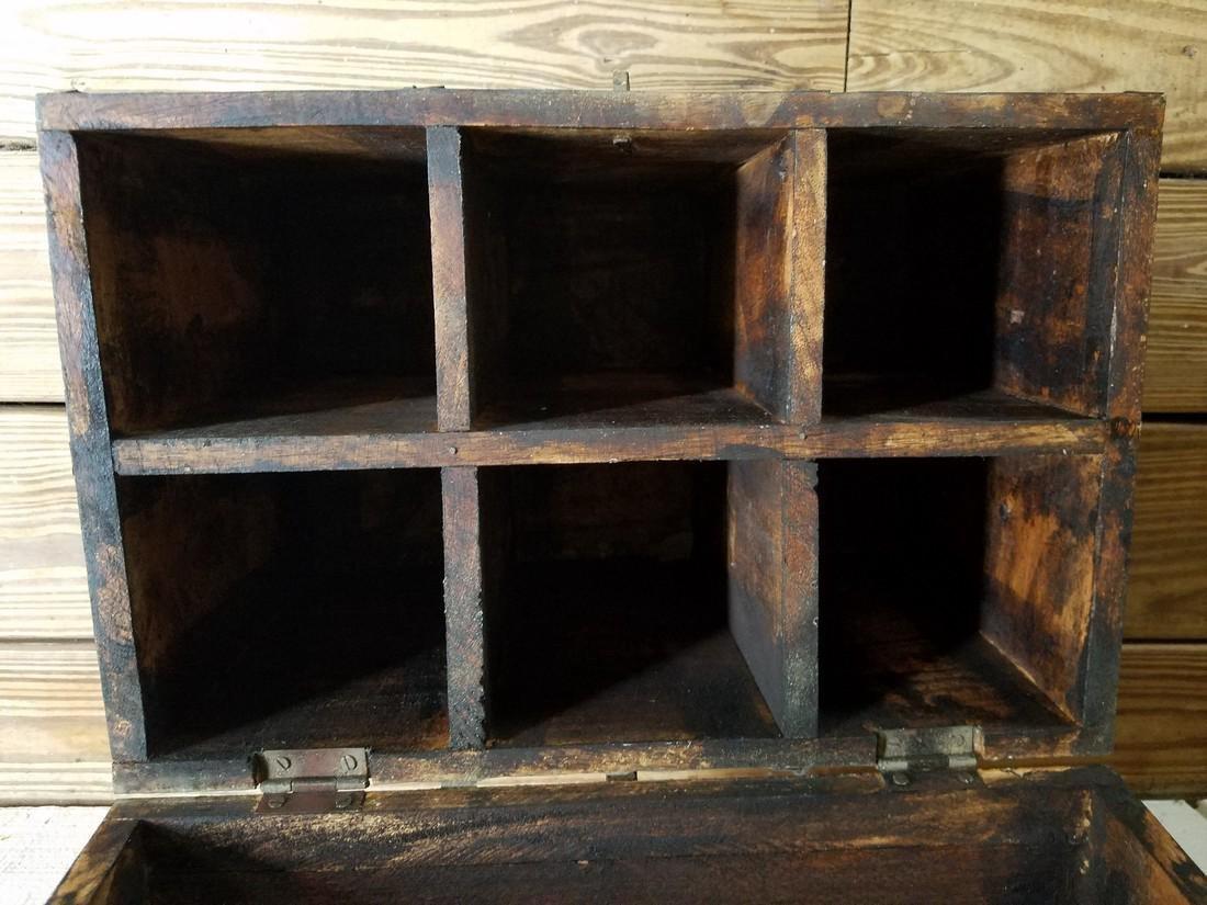 Vintage Wooden Milk Box Hand Stenciled - 4