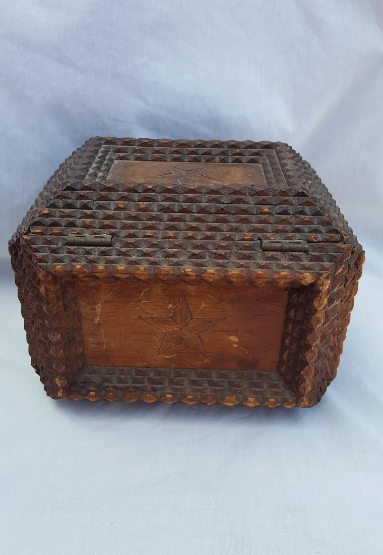 Tramp Art Box With Inlaid Stars - 2