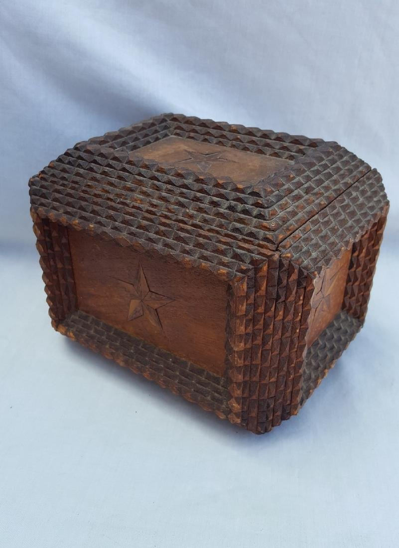 Tramp Art Box With Inlaid Stars - 4
