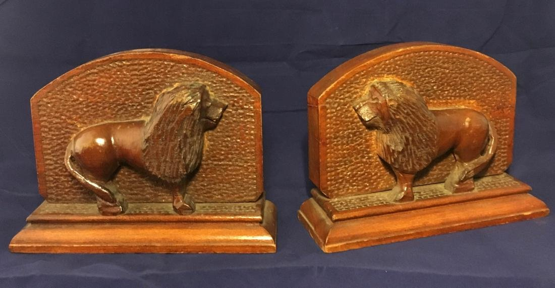 Mid 20th Century Folk Art Wood Carved Lion Bookends