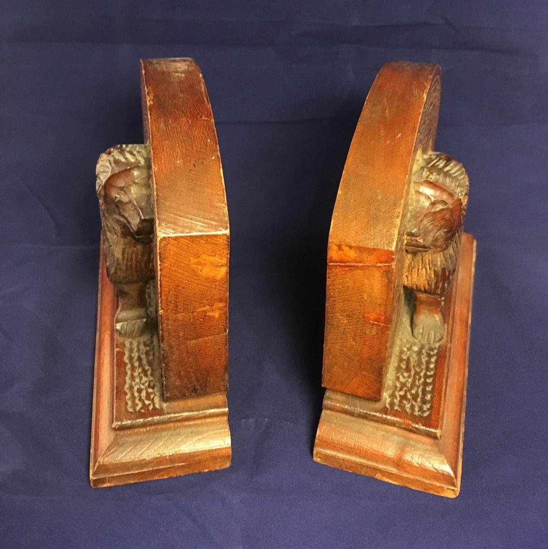 Mid 20th Century Folk Art Wood Carved Lion Bookends - 2