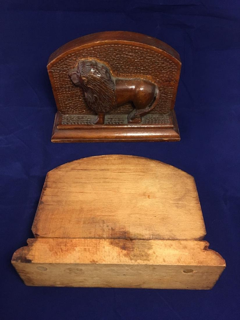 Mid 20th Century Folk Art Wood Carved Lion Bookends - 3