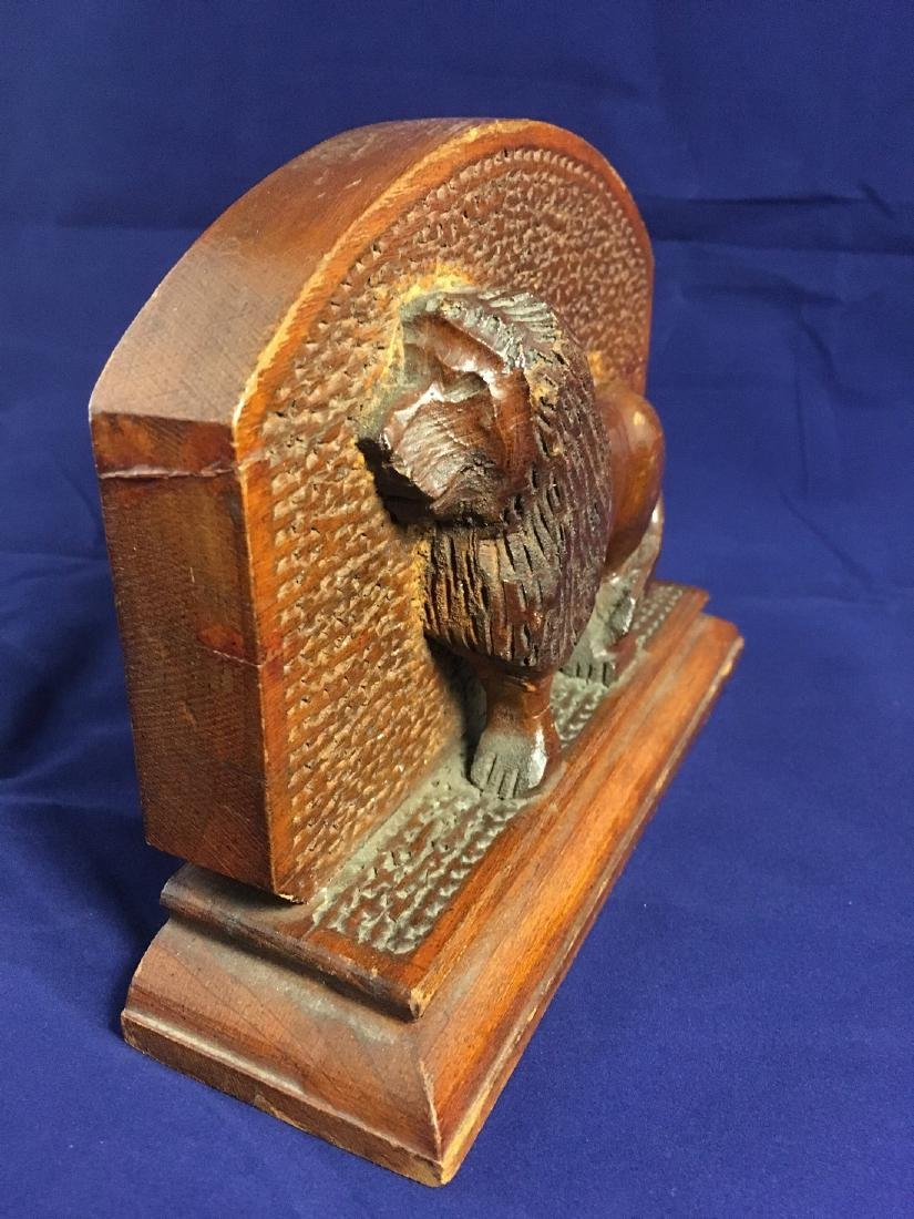Mid 20th Century Folk Art Wood Carved Lion Bookends - 4