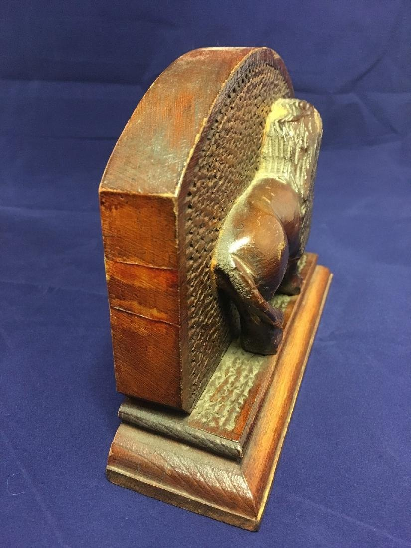 Mid 20th Century Folk Art Wood Carved Lion Bookends - 5