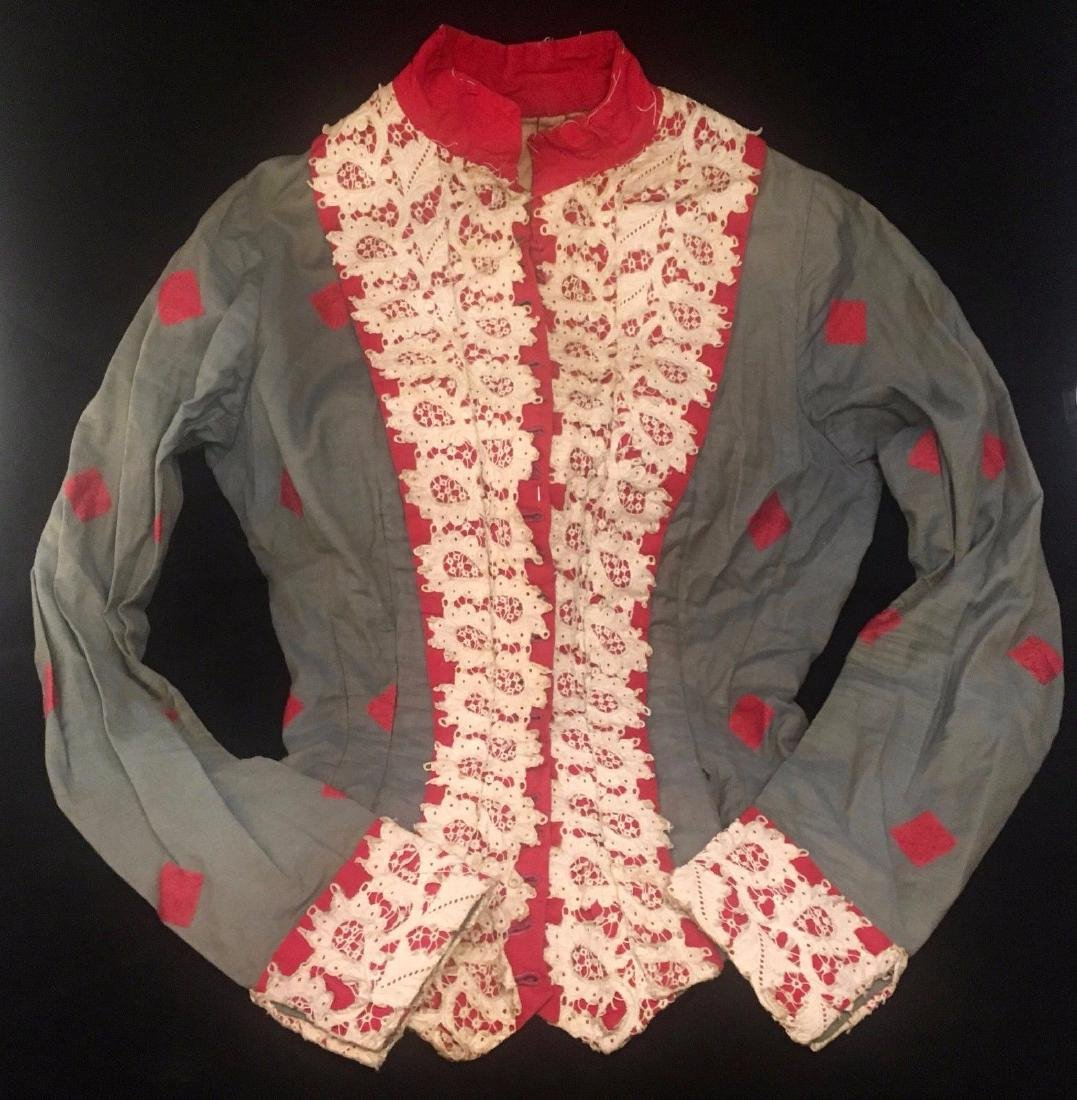 Antique 1870 Civil War Era Red White Blue Cotton Blouse