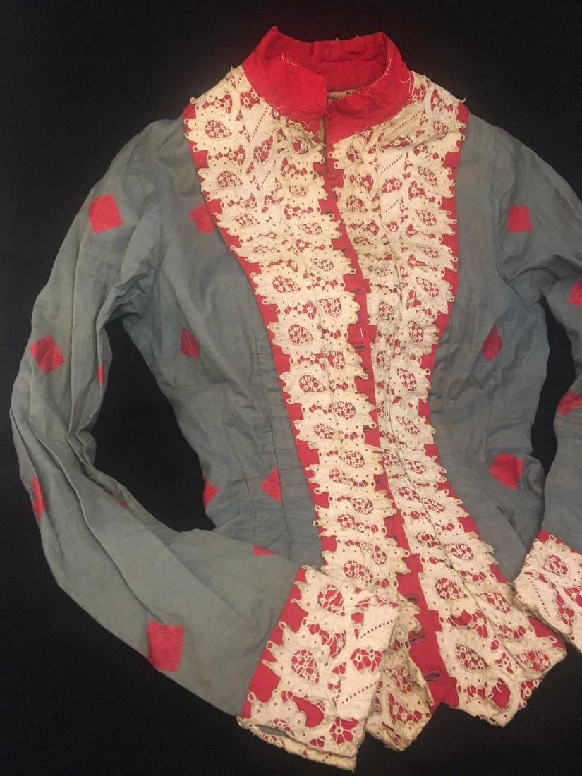 Antique 1870 Civil War Era Red White Blue Cotton Blouse - 3
