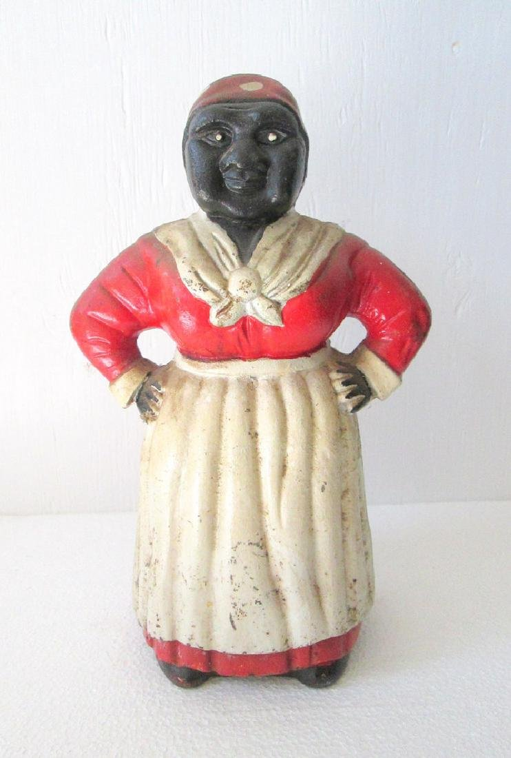 Large Cast Iron Mammy Bank - 2