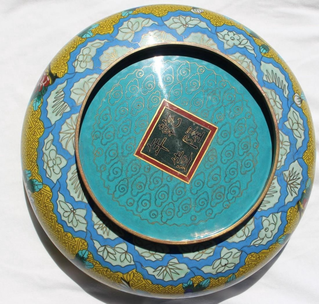 Vintage Large Round Chinese Cloisonne Bowl