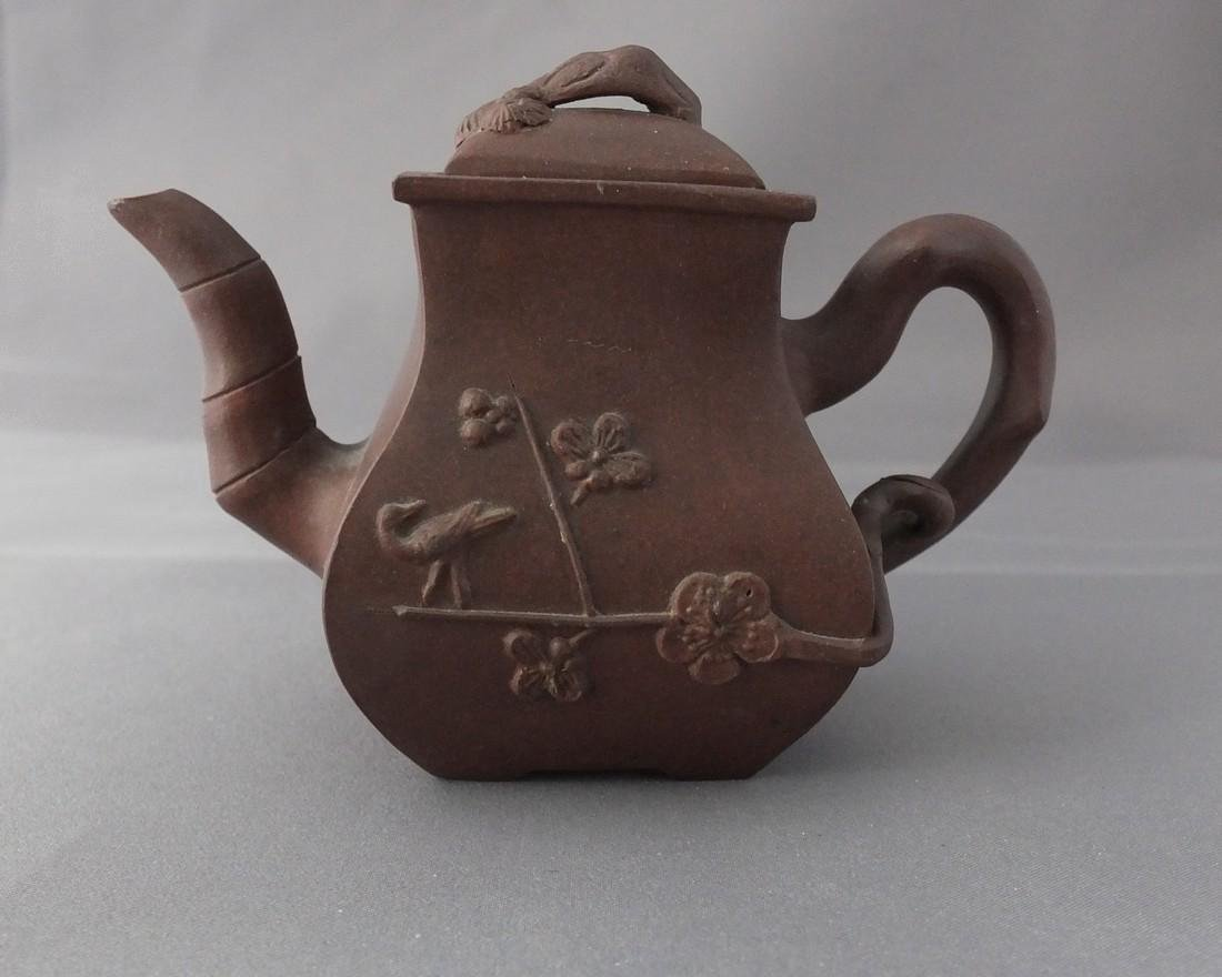 Antique Chinese Mini Yixing 3 Friends of Winter Teapot