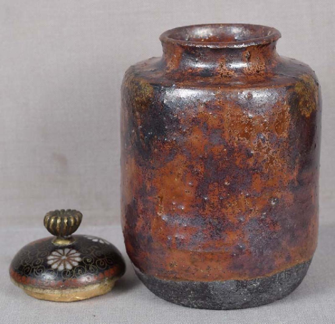 Antique Japanese Tea Ceremony Tamba Chaire Caddy - 3